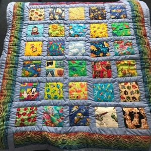 Handmade Quilted Baby Kids Blanket Multi Colour